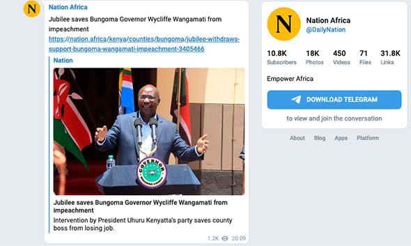 Kenya's Daily Nation on Telegram